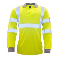 Modaflame Mens Flame Resistant Hi Vis Polo Shirt Long Sleeve