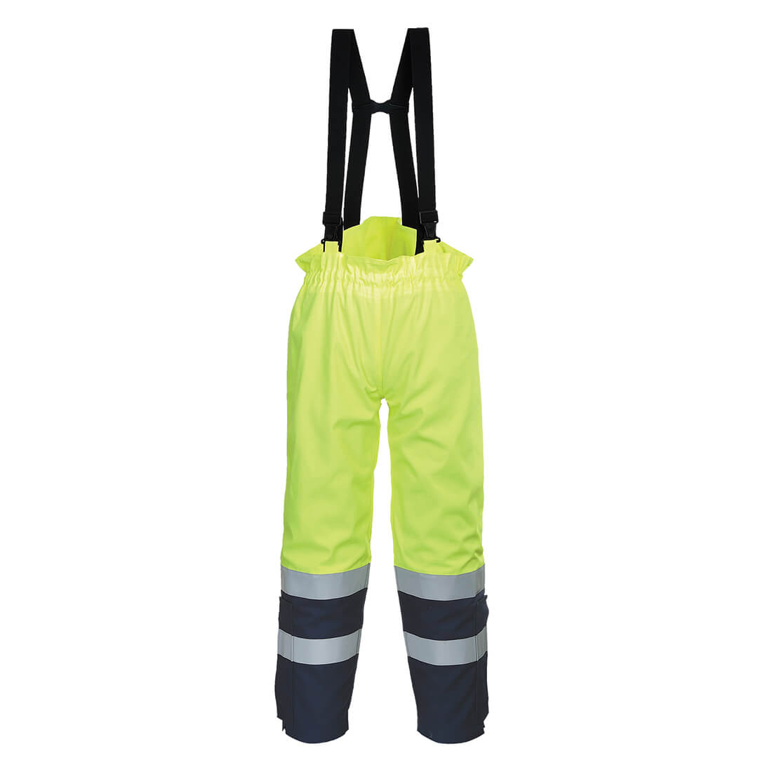 Image of Biz Flame Hi-Vis Flame Resistant Multi Arc Trousers Yellow / Navy L