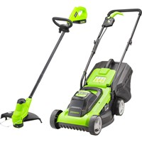 Greenworks G24TWIN 24v Cordless Rotary Lawnmower and Grass Trimmer Kit