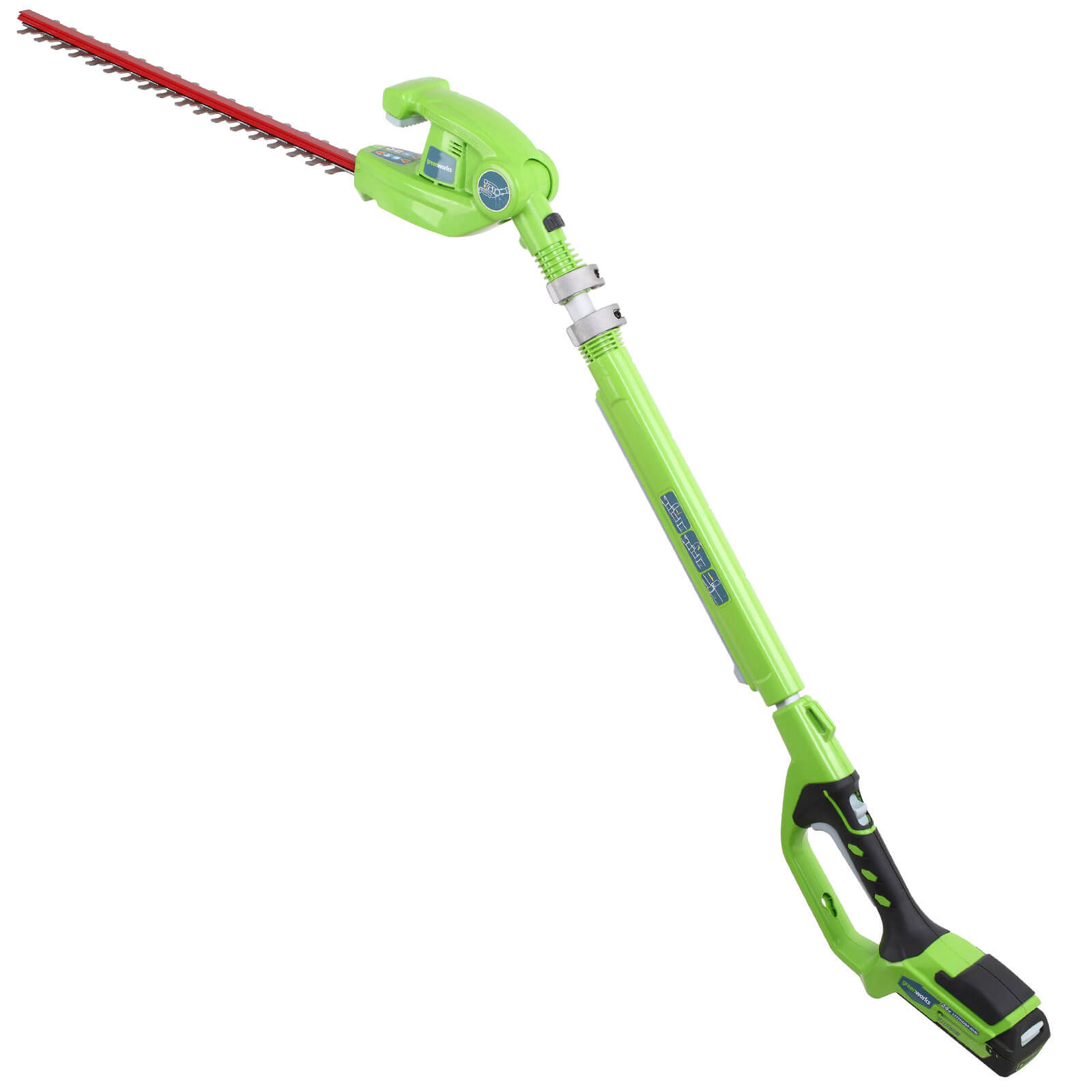 Greenworks G24PH51 24v Cordless Long Hedge Trimmer 510mm 1 x 2ah Liion Charger