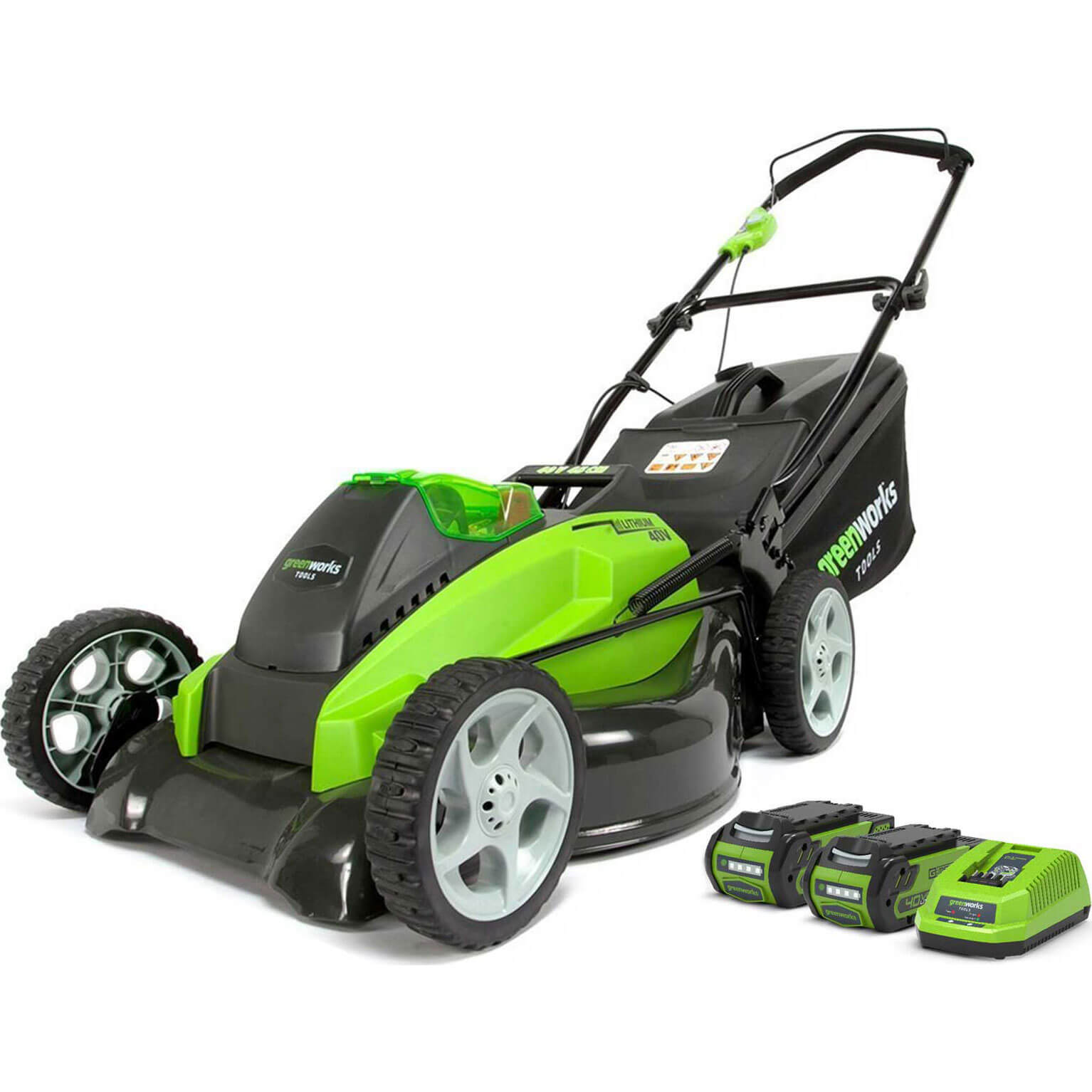 Greenworks G40LM45 40v Cordless Rotary Lawnmower 450mm 2 x 2.5ah Li-ion Charger