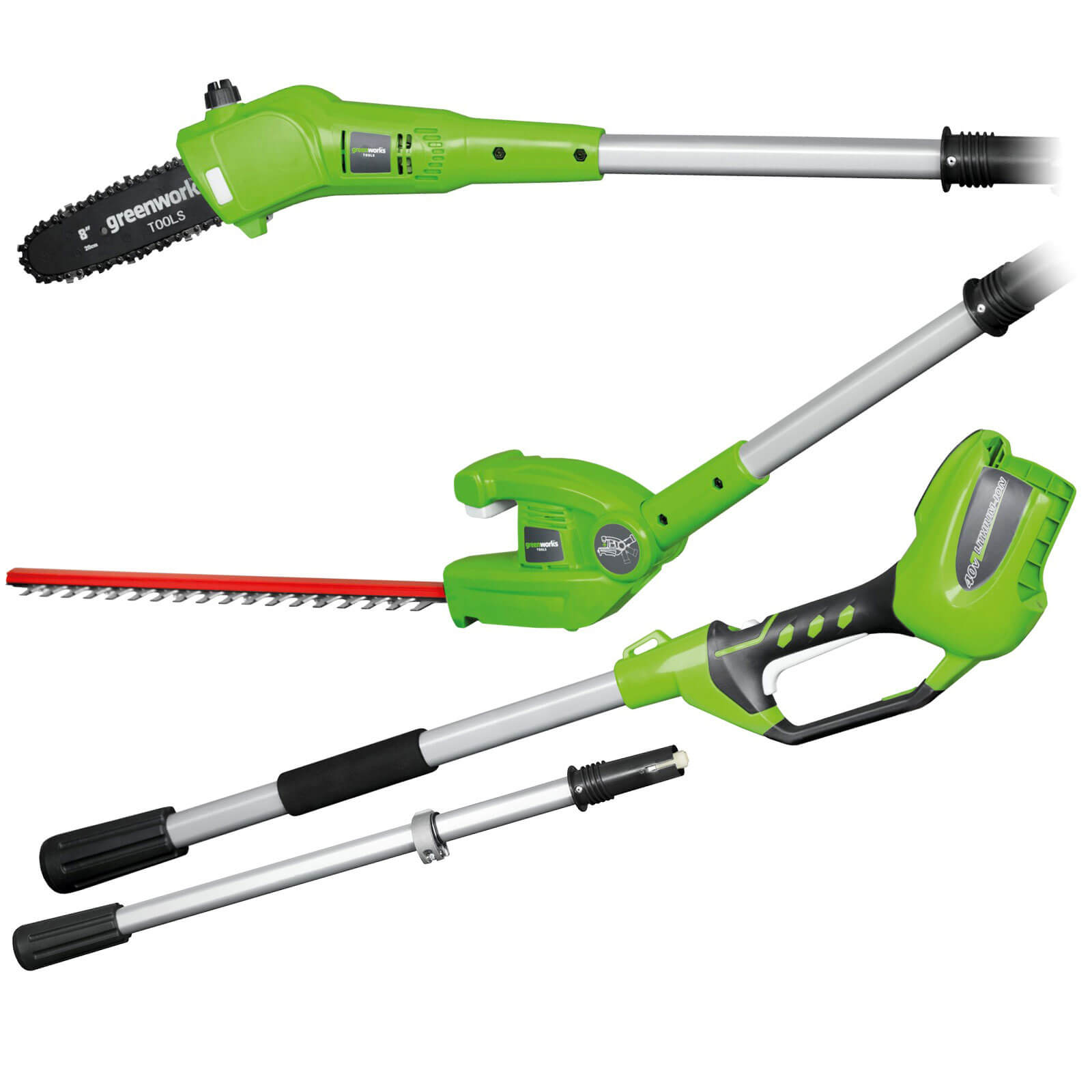Greenworks G40PSH 40v Cordless Long Reach Hedge Trimmer and Tree Pruner No Batteries No Charger