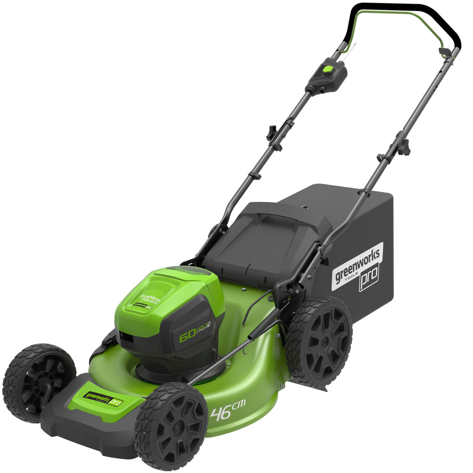 Image of Greenworks GD60LM46 60v Cordless Push Rotary Lawnmower 460mm 1 x 2ah Li-ion Charger