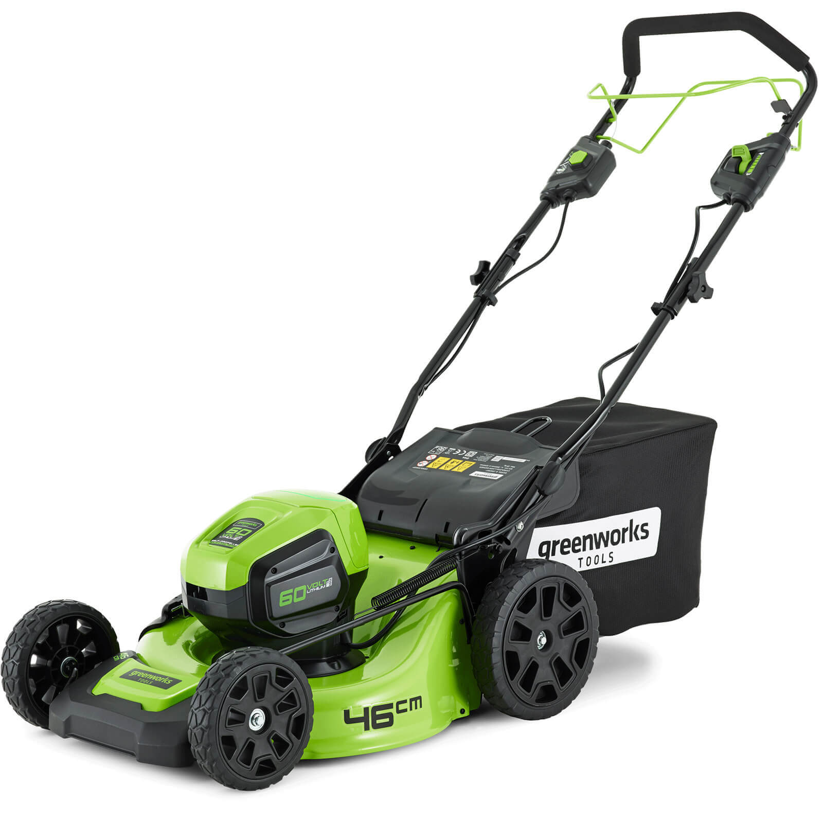 Image of Greenworks GD60LM46SP 60v Cordless Self Propelled Rotary Lawnmower 460mm 1 x 2ah Li-ion Charger