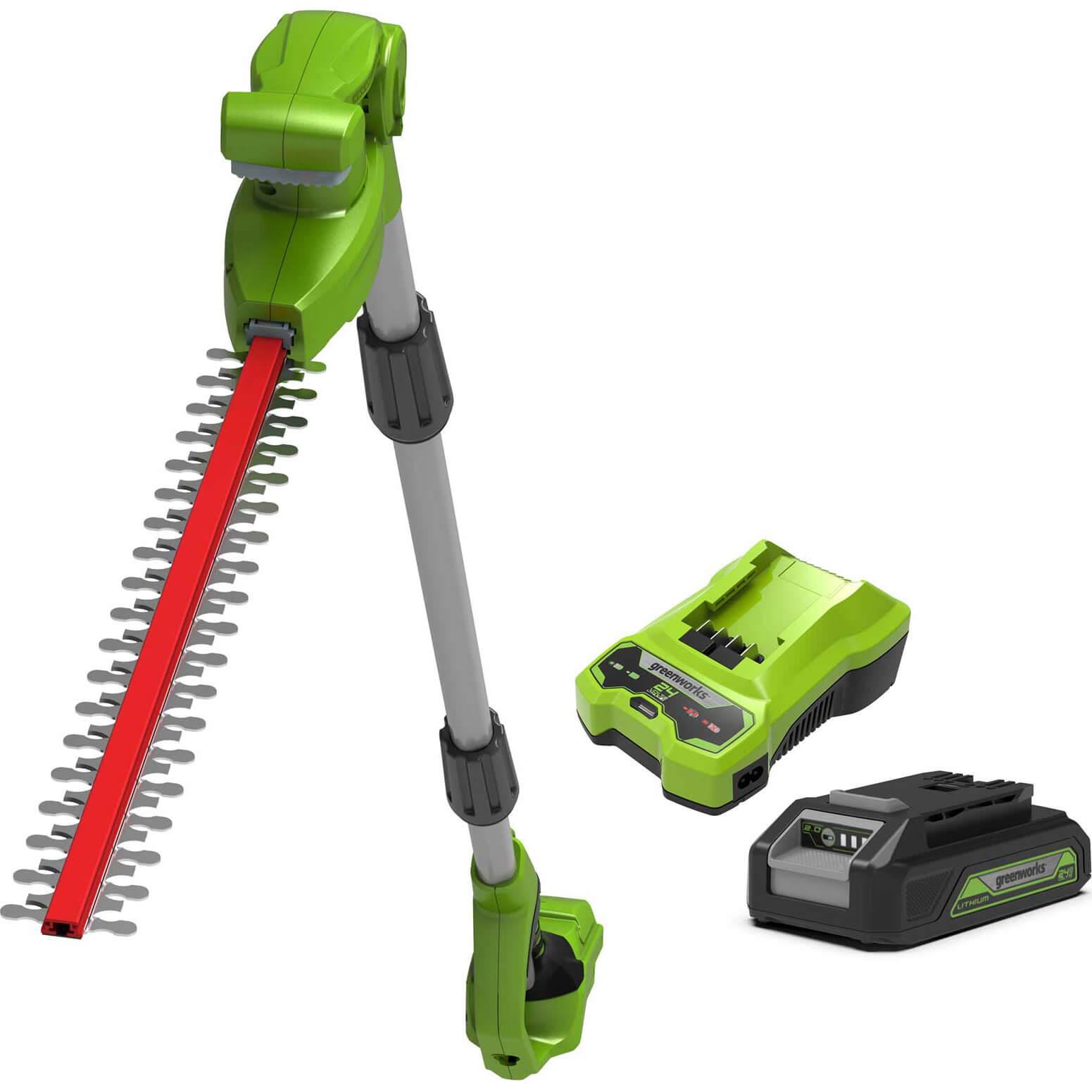Greenworks G24LRHT 24v Cordless Long Reach Hedge Trimmer 510mm 1 x 2ah Li-ion Charger
