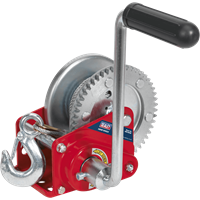 Sealey Hardened Steel Geared Hand Winch with Automatic Brake and Cable