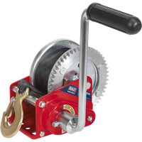 Sealey Hardened Steel Geared Hand Winch with Automatic Brake and Webbing