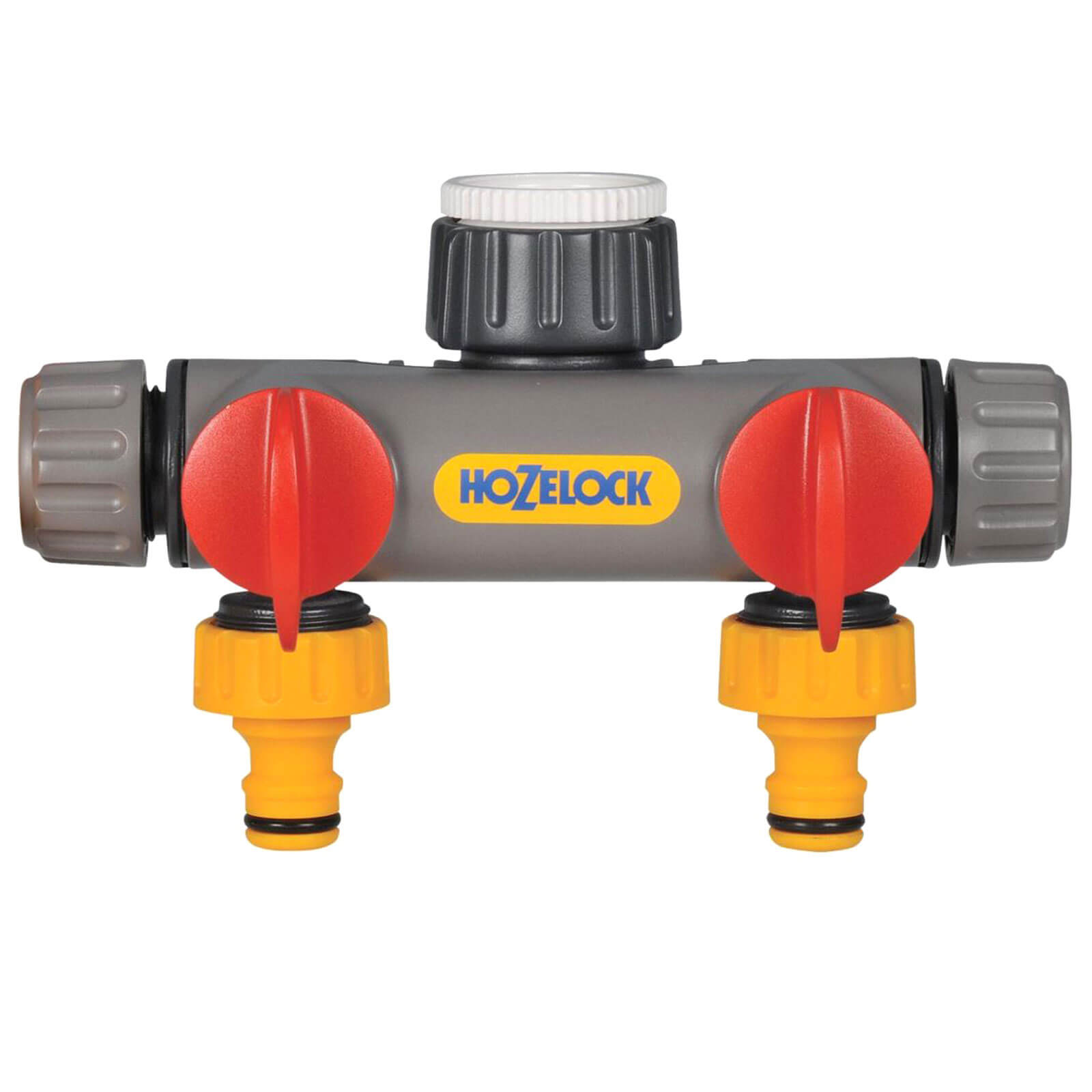 Image of Hozelock 2 Way Threaded Tap Hose Pipe Connector 21mm, 26mm & 33mm