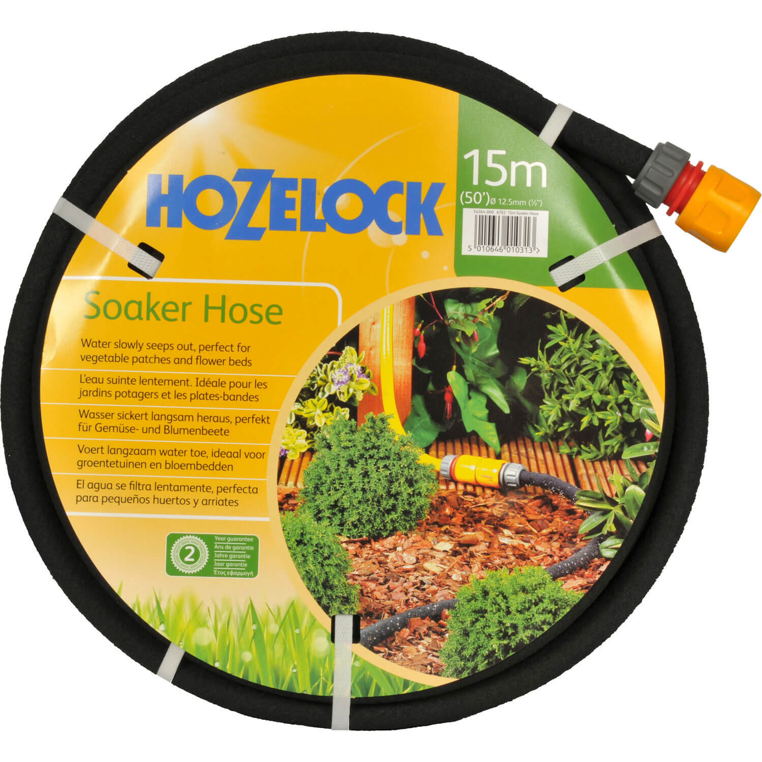 Hozelock Porous Soaker Hose Pipe with Connector 12  12.5mm 15m Black