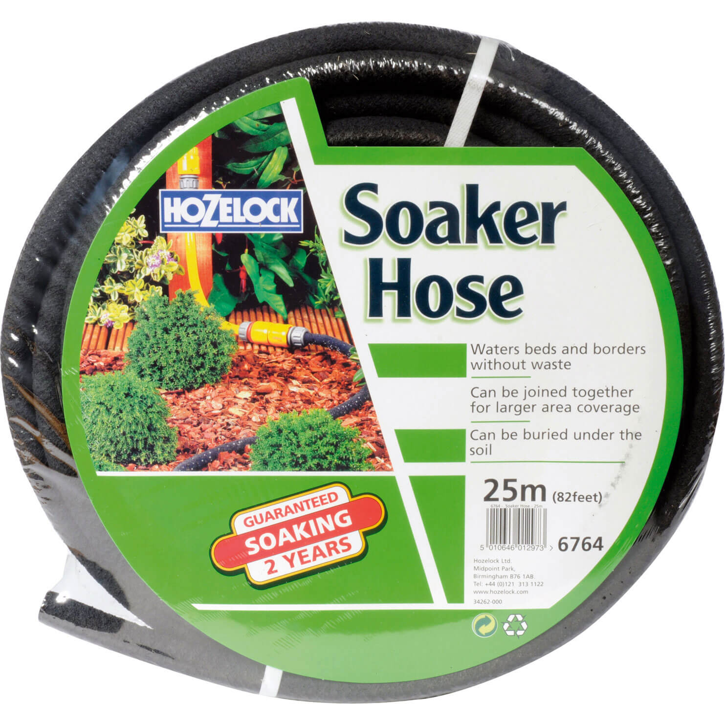 Hozelock Porous Soaker Hose Pipe with Connector 12  12.5mm 25m Black