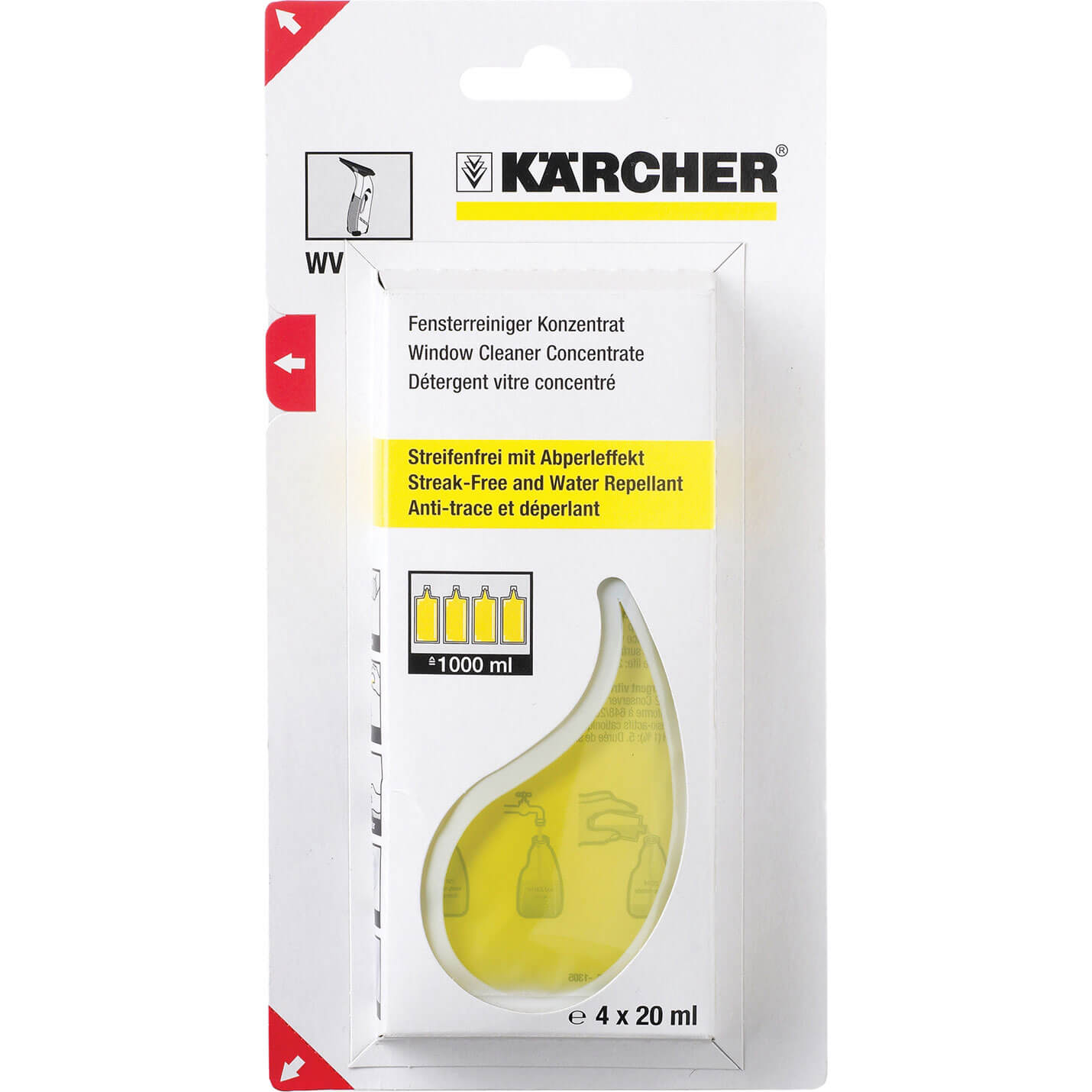 Karcher Concentrated Glass Cleaner 20ml for Karcher Window Vacs Pack of 4