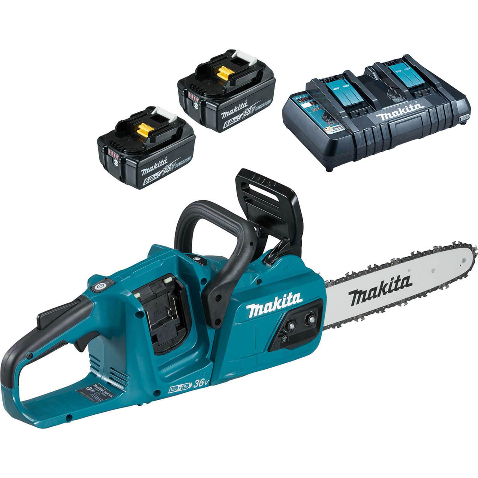 Makita DUC305 Twin 18v LXT Brushless Chainsaw 300mm 2 x 6ah Li-ion Charger