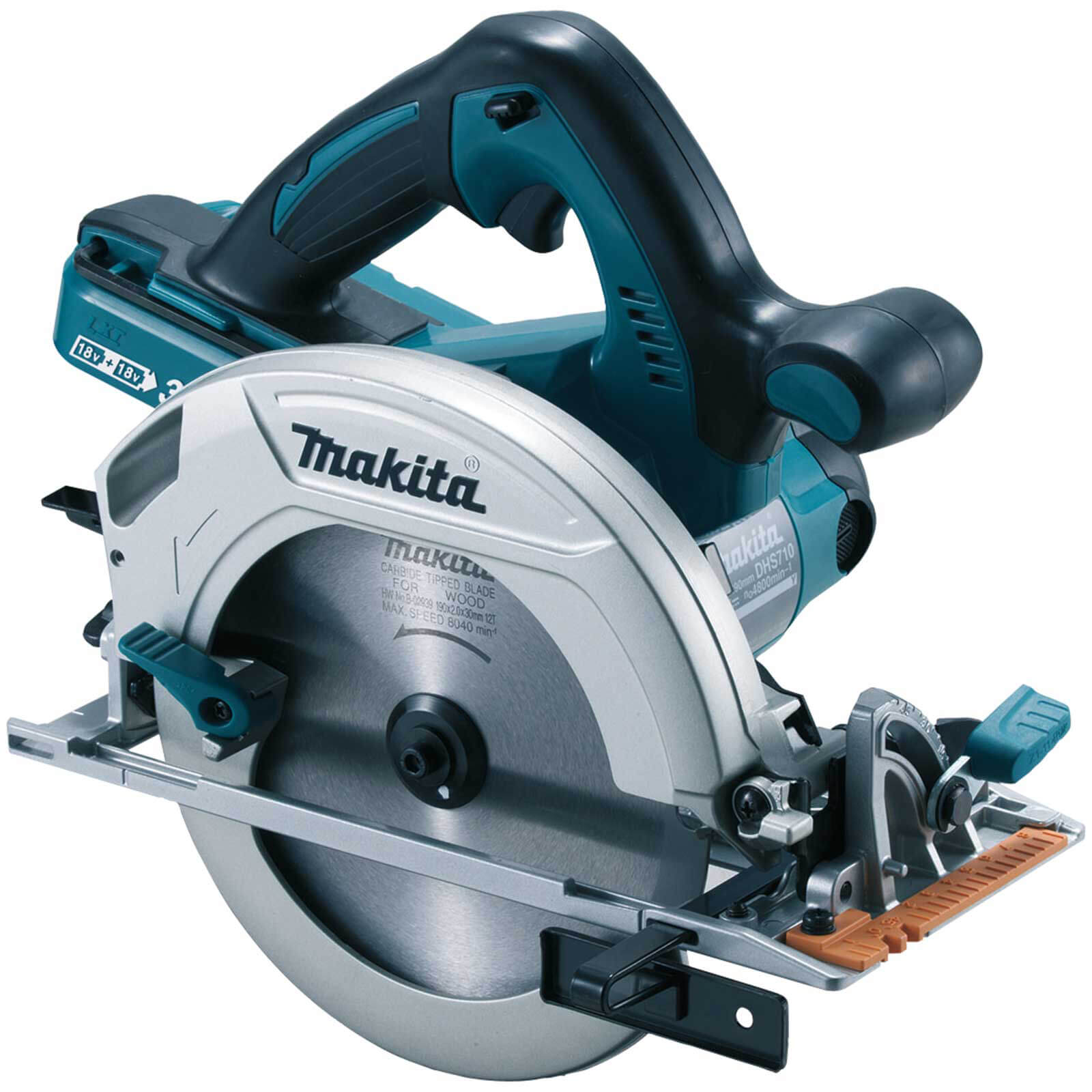 Image of Makita DHS710 Twin 18v Cordless LXT Circular Saw 185mm No Batteries No Charger Case