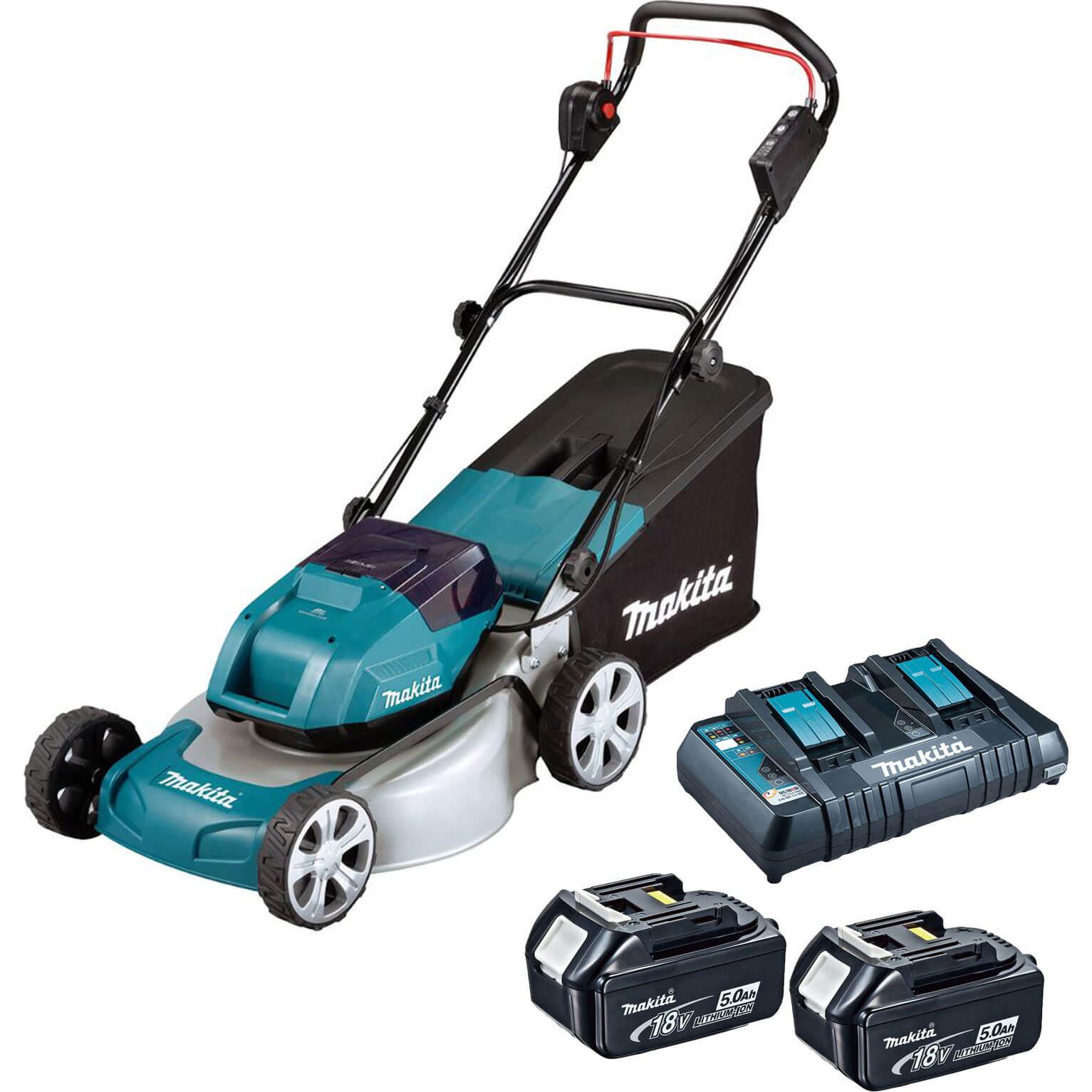 Makita DLM460 Twin 18v LXT Cordless Brushless Rotary Lawn Mower 460mm 2 x 6ah Li-ion Charger