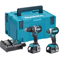 Makita DLX2180TJ 18v Cordless LXT Brushless Combi Drill and Impact Driver Kit