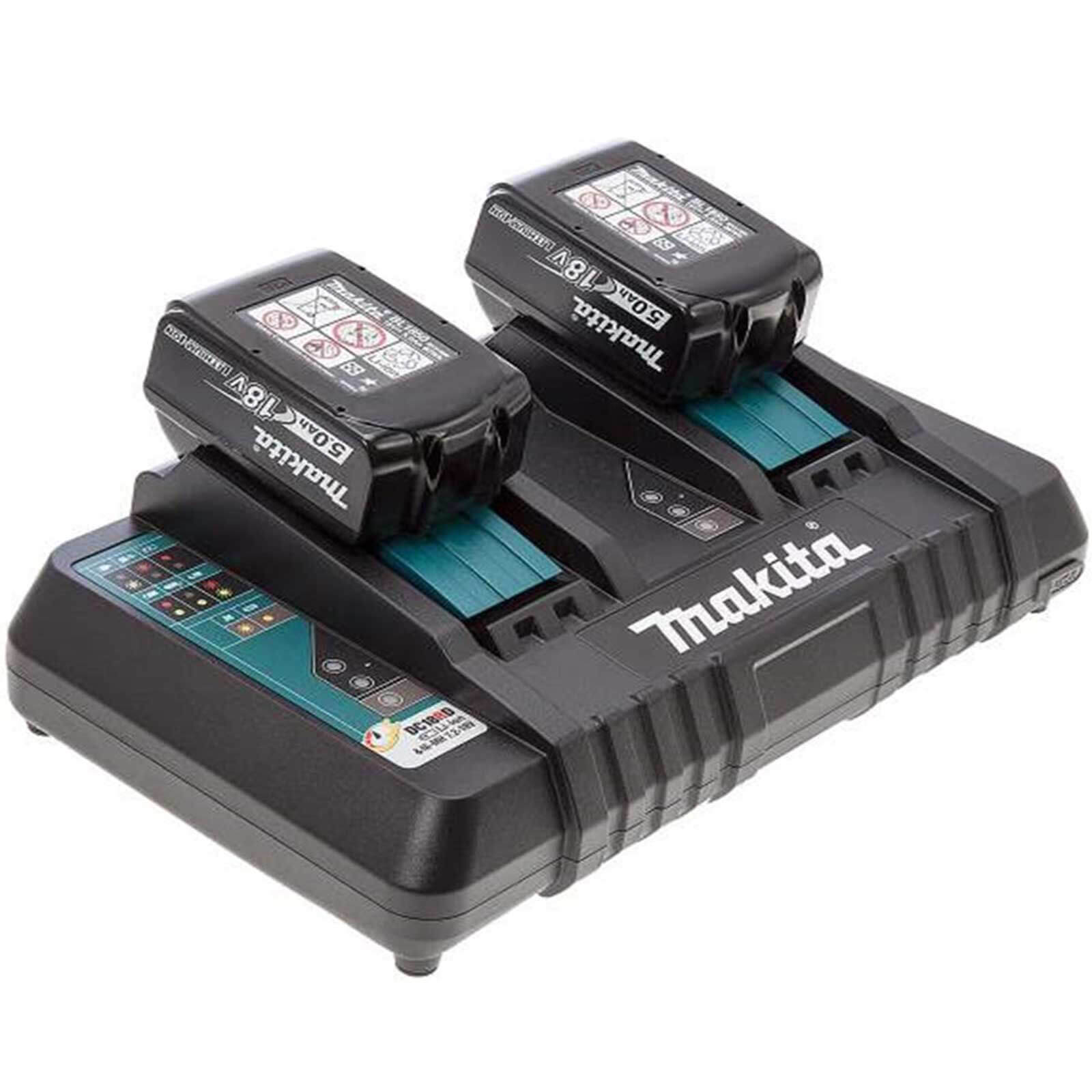 Image of Makita 18v Twin Charger and 2 Li-ion Batteries 5 Amp