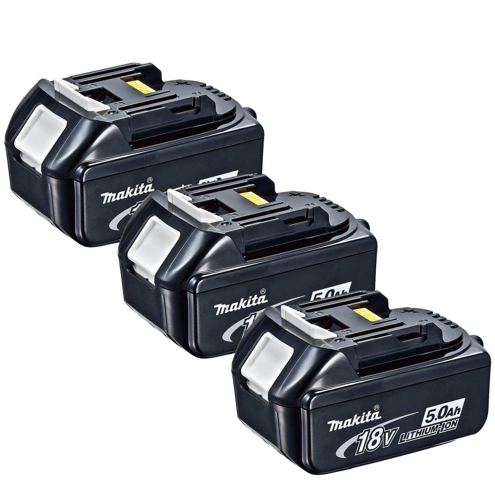 Image of Makita BL1850B 18v Cordless Li-ion Battery 5ah Pack of 3