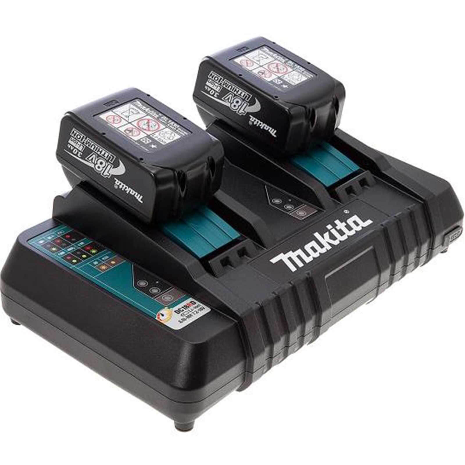 Image of Makita 18v Twin Charger and 2 Li-ion Batteries 3 Amp