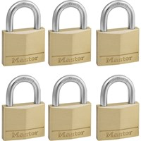 Masterlock Solid Brass Padlock Pack of 6 Keyed Alike