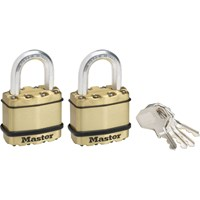 Masterlock Excell Brass Finish Padlock Pack of 2 Keyed Alike