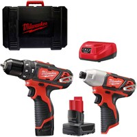 Milwaukee M12BPP2B-421C 12v Cordless Combi Drill and Impact Driver