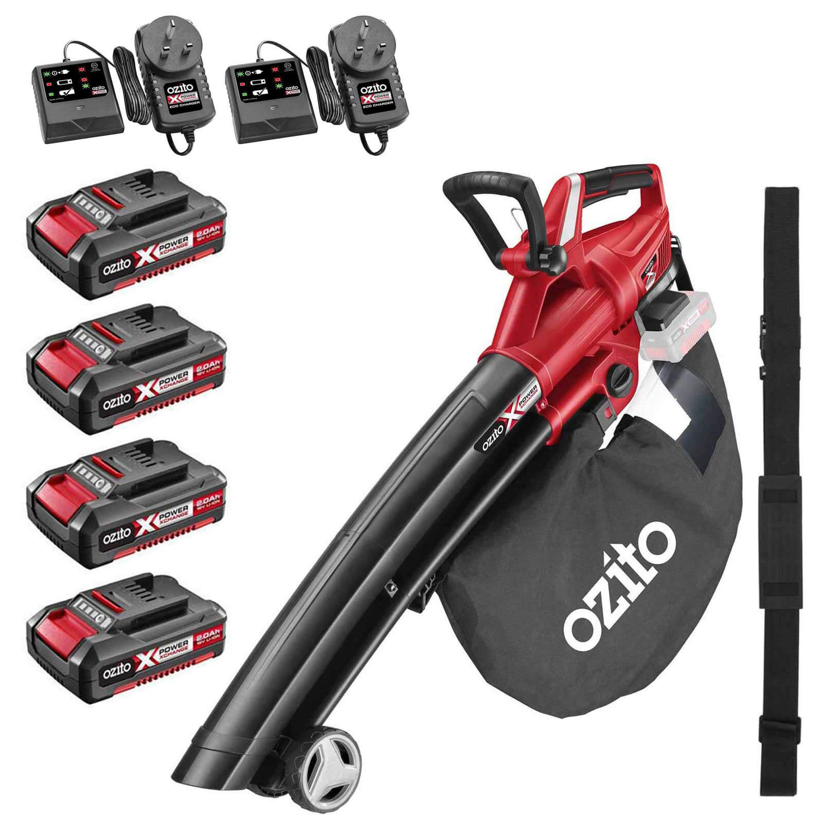 Ozito PXCBLVS 36v Cordless Brushless Garden Vacuum and Leaf Blower (Uses 2 x 18v) 4 x 2ah Li-ion Twin Battery Charger