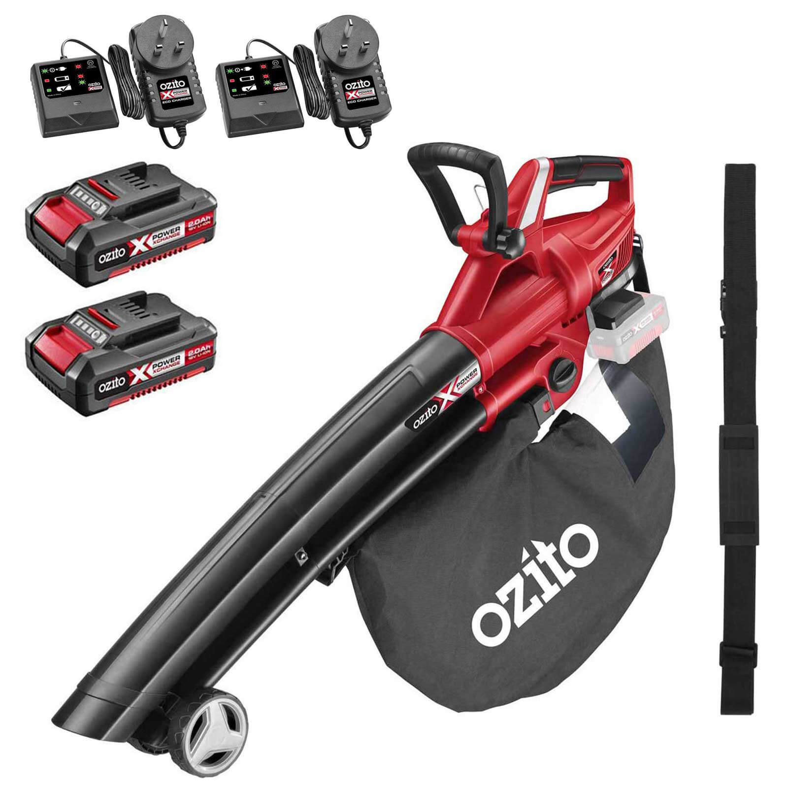 Ozito PXCBLVS 36v Cordless Brushless Garden Vacuum and Leaf Blower (Uses 2 x 18v) 2 x 2ah Li-ion Twin Battery Charger