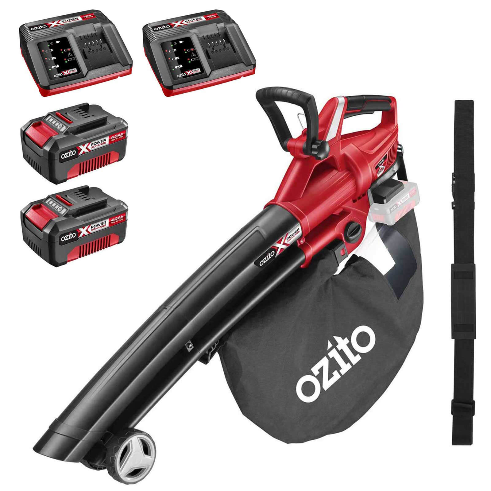 Ozito PXCBLVS 36v Cordless Brushless Garden Vacuum and Leaf Blower (Uses 2 x 18v) 2 x 4ah Li-ion Twin Battery Charger