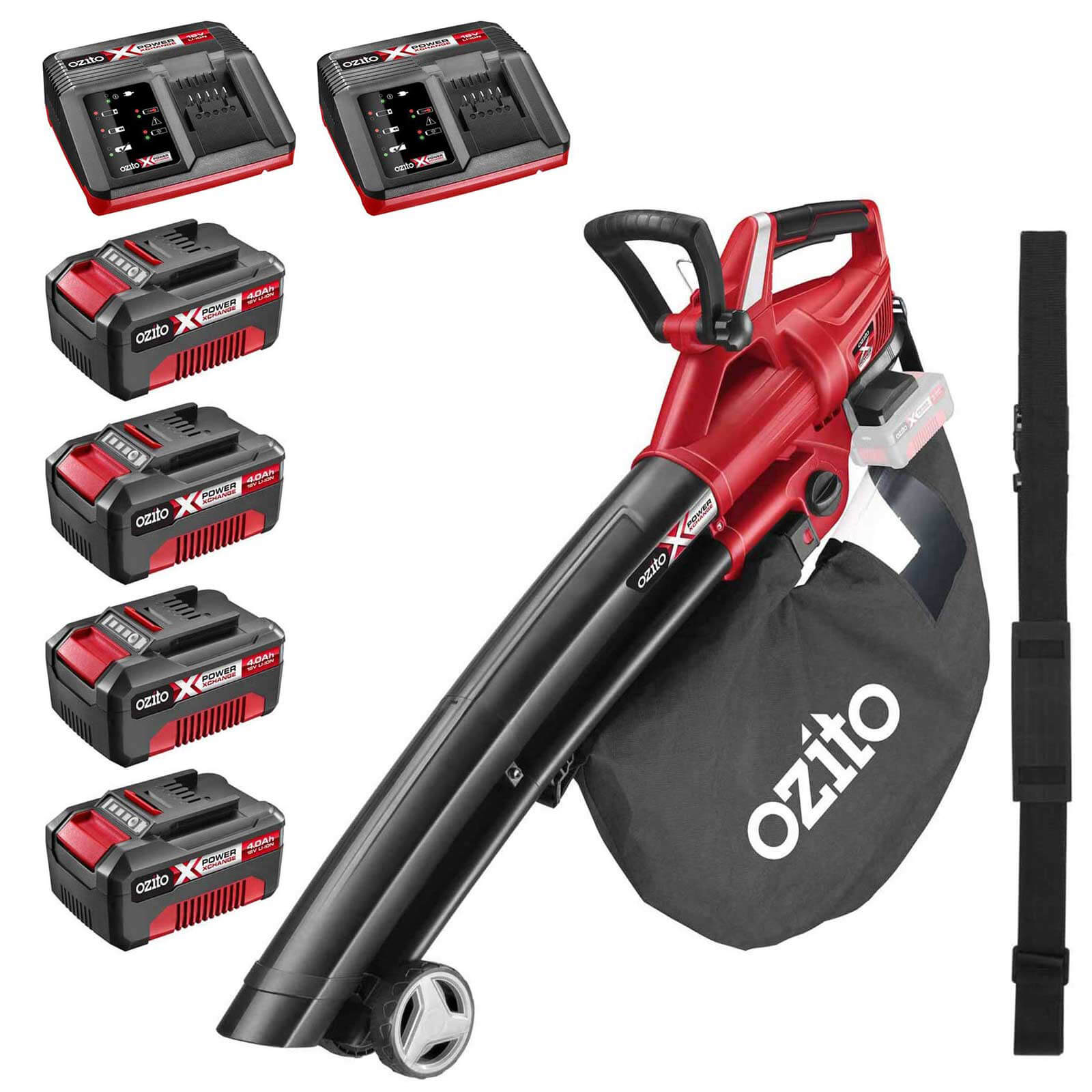 Ozito PXCBLVS 36v Cordless Brushless Garden Vacuum and Leaf Blower (Uses 2 x 18v) 4 x 4ah Li-ion Twin Battery Charger