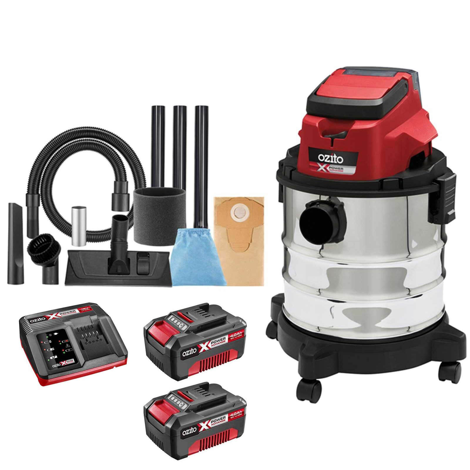 Ozito PXVWD 18v Cordless Mini Wet and Dry Vacuum Cleaner 2 x 4ah Li-ion Charger No Case
