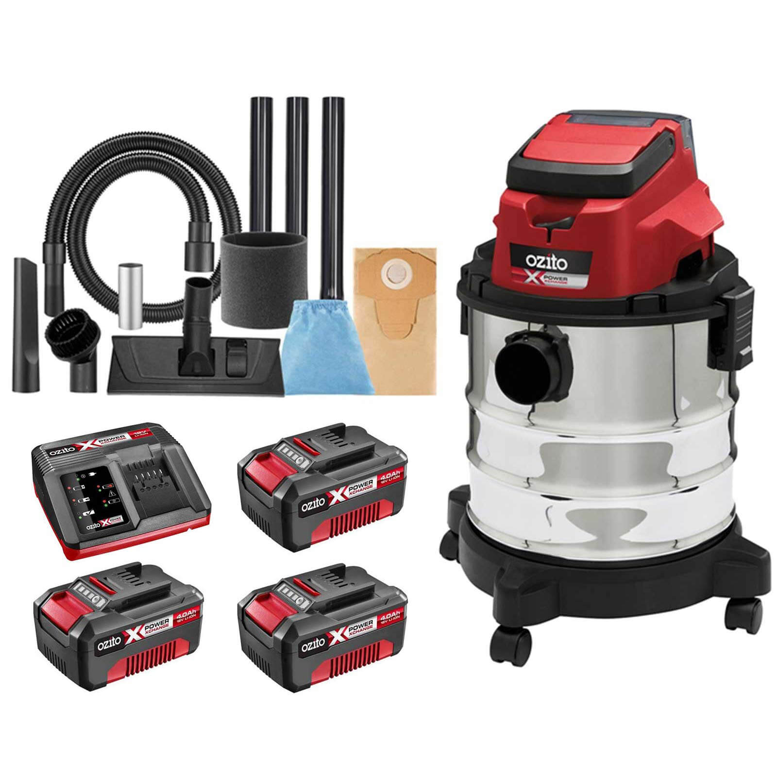 Ozito PXVWD 18v Cordless Mini Wet and Dry Vacuum Cleaner 3 x 4ah Li-ion Charger No Case