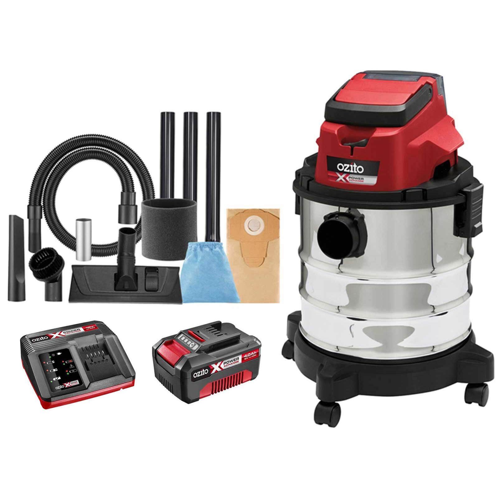 Ozito PXVWD 18v Cordless Mini Wet and Dry Vacuum Cleaner 1 x 4ah Li-ion Charger No Case