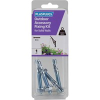 Plasplugs Outdoor Accessory Fixing Kit for Solid Walls