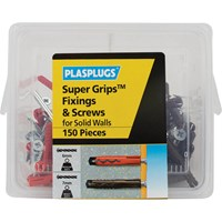 Plasplugs 150 Piece Super Grips Fixings and Screws Kit for Solid Walls