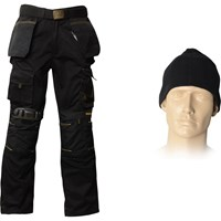 Roughneck Mens Work Trousers , Belt, Beanie & Kneepad
