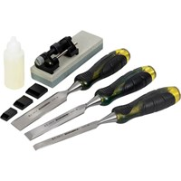 Roughneck 3 Piece Bevel Edge Chisel Set and Sharpening Kit