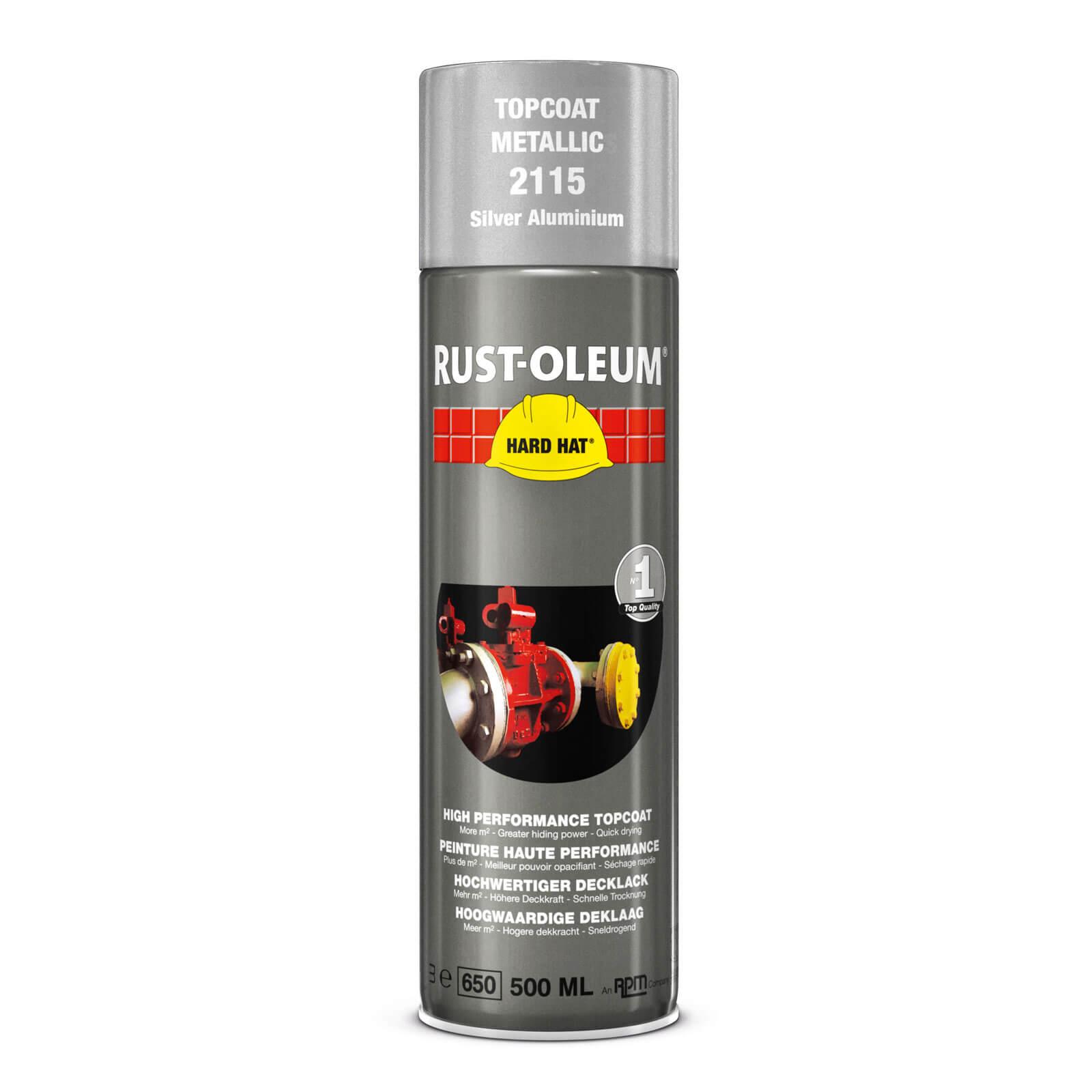 Rust Oleum Hard Hat Metal Metallic Spray Paint Bright Aluminium 500ml