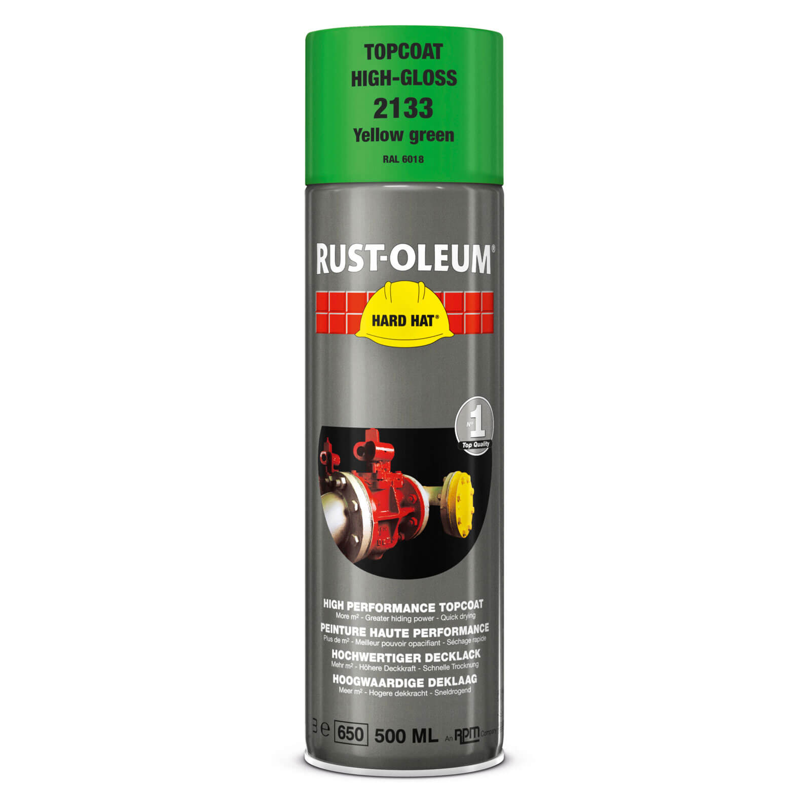 Rust Oleum Hard Hat Metal Spray Paint Yellow Green 500ml