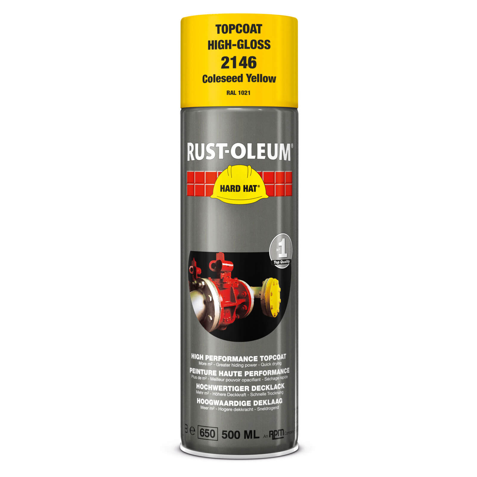 Rust Oleum Hard Hat Metal Spray Paint Coleseed Yellow 500ml