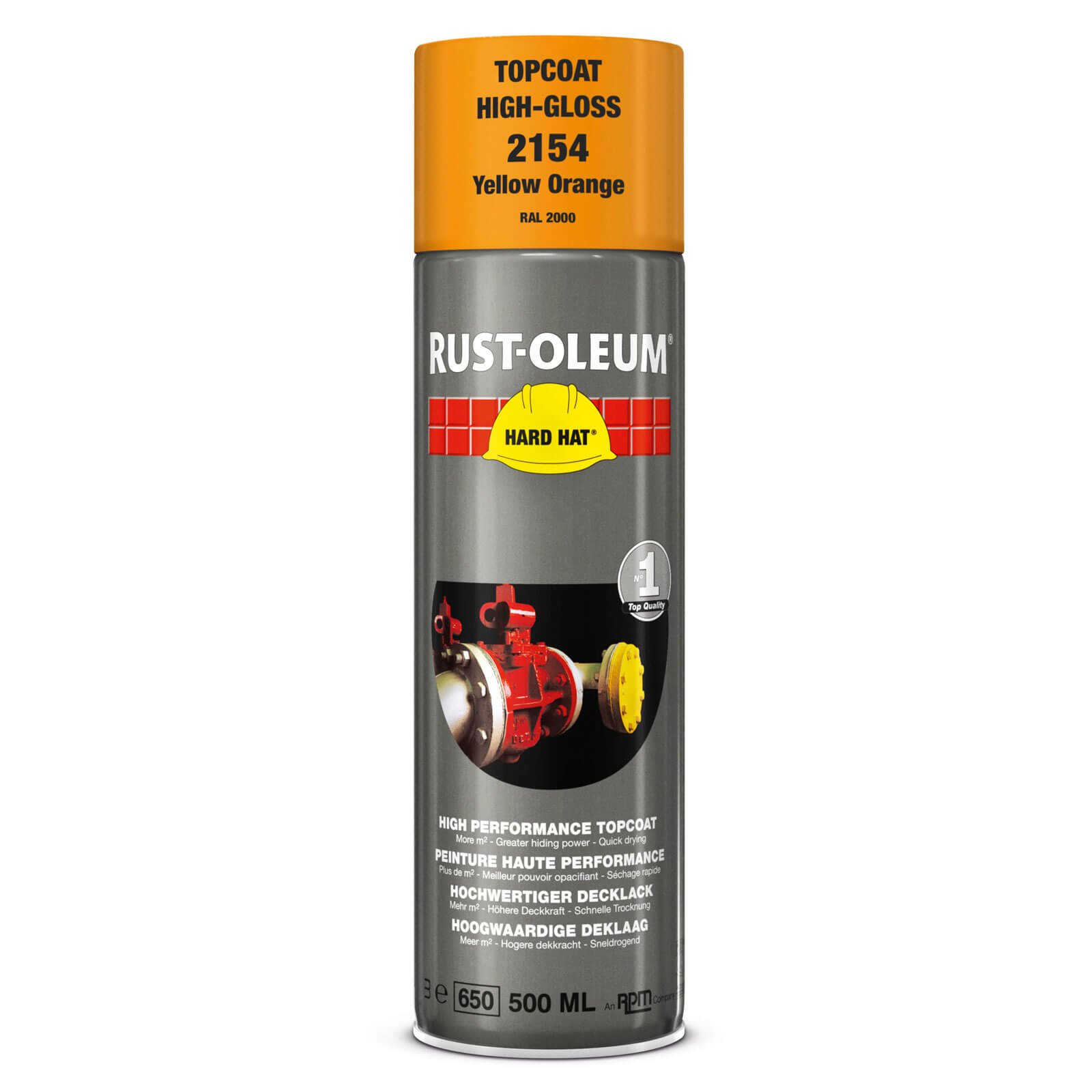 Rust Oleum Hard Hat Metal Spray Paint Yellow Orange 500ml