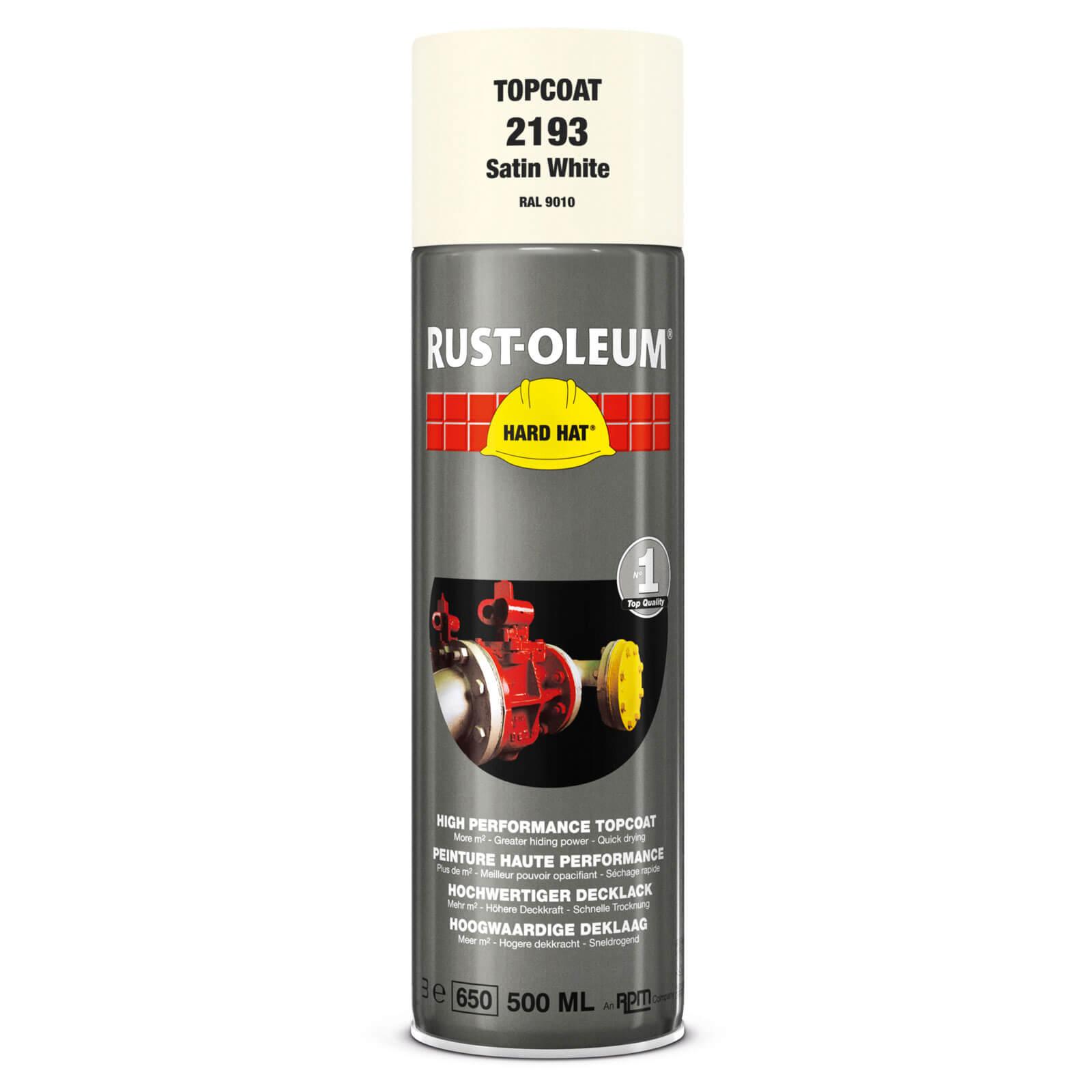 Rust Oleum Hard Hat Metal Spray Paint White Satin 500ml