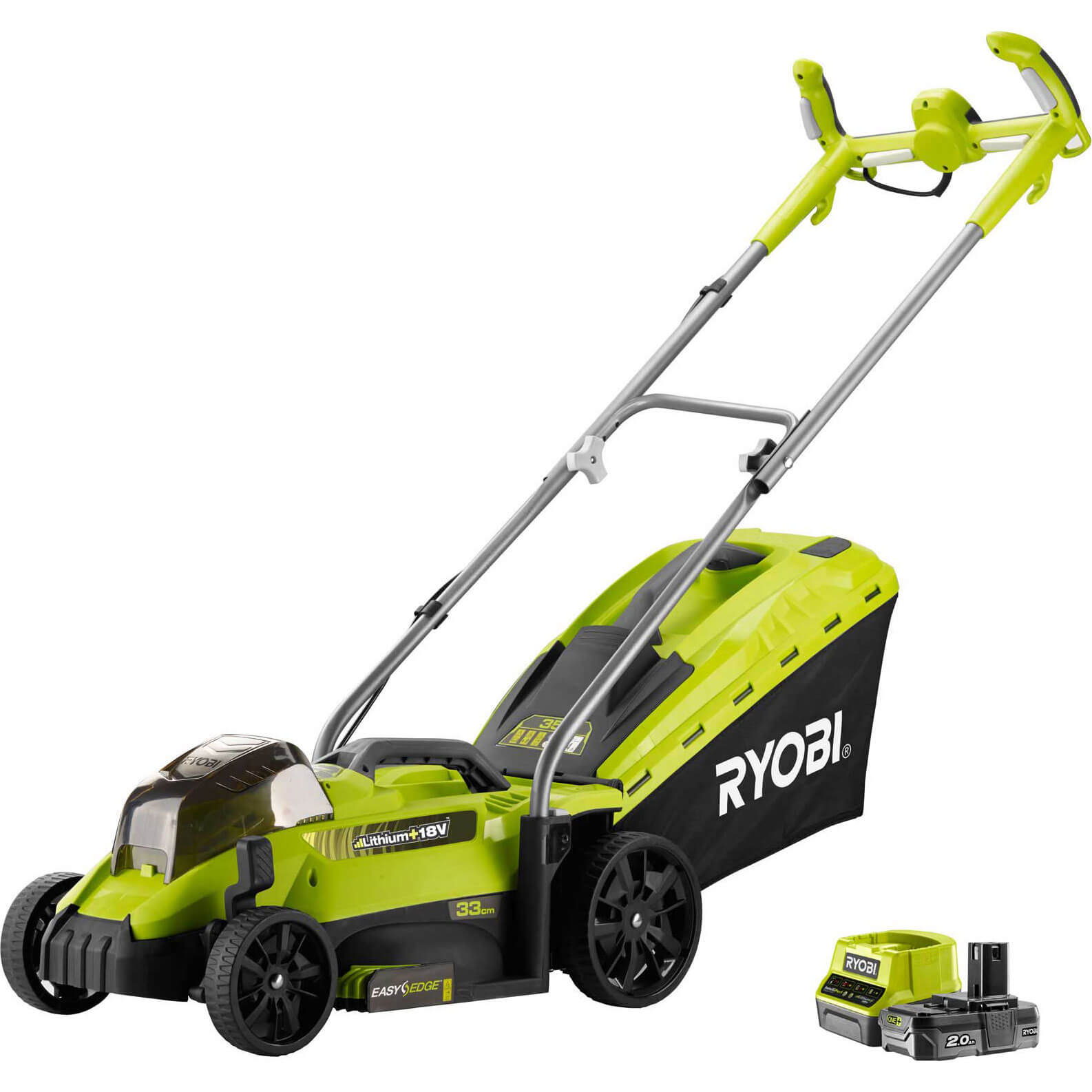 Image of Ryobi OLM1833H ONE+ 18v Cordless Rotary Lawnmower 330mm 1 x 2ah Li-ion Charger