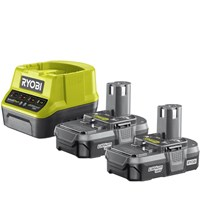 Ryobi RC18120-213 ONE+ 18v Cordless Fast Battery Charger and 2 Li-ion Batteries 1.3ah
