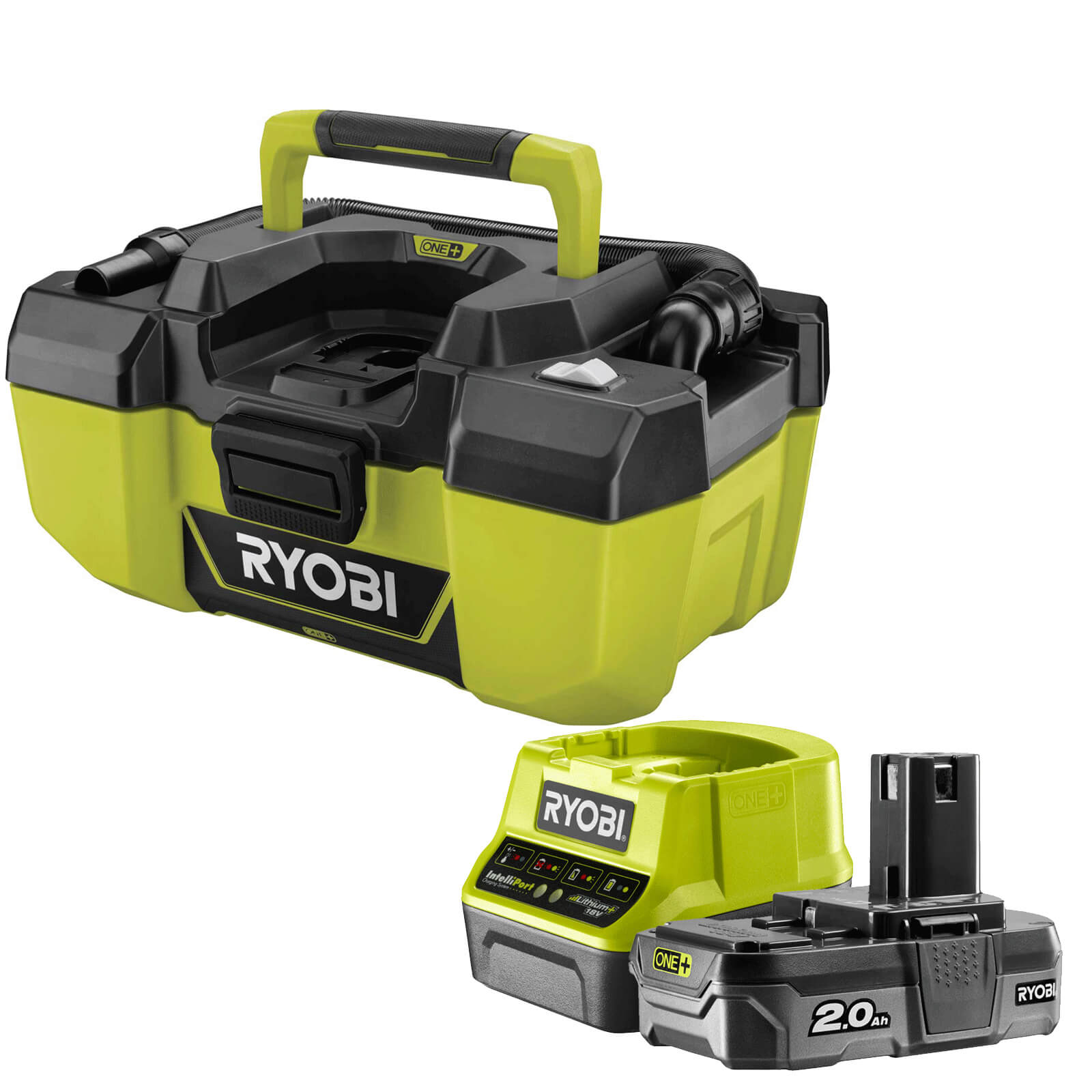 Ryobi R18PV ONE+ 18v Cordless Project Vacuum Cleaner 1 x 2ah Li-ion Charger No Case