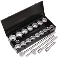 "Siegen 21 Piece 1"" Drive Hexagon WallDrive Socket Set Metric"
