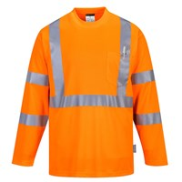 Portwest Long Sleeved Class 3 Hi Vis Pocket T Shirt