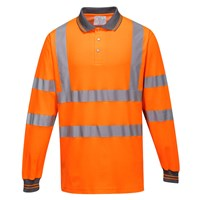 Portwest Class 3 Hi Vis Cotton Comfort Long Sleeved Polo Shirt
