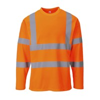 Portwest Mens Class 3 Hi Vis Long Sleeved Cotton Comfort T Shirt