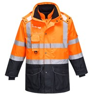 Oxford Weave 300D Class 3 Hi Vis 7-in-1 Contrast Traffic Jacket