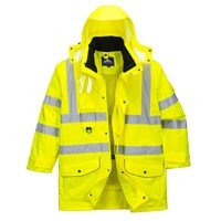Oxford Weave 300D Class 3 Hi Vis 7-in-1 Traffic Jacket